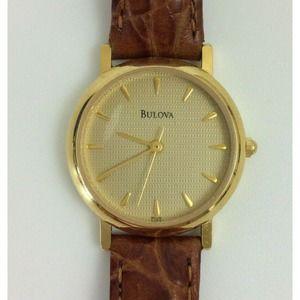 Bulova Ladies Watch Gold Tone Leather Band
